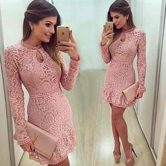 New Arrive Vestidos Lace Dress O-Neck Sleeve Evening Party Dresses