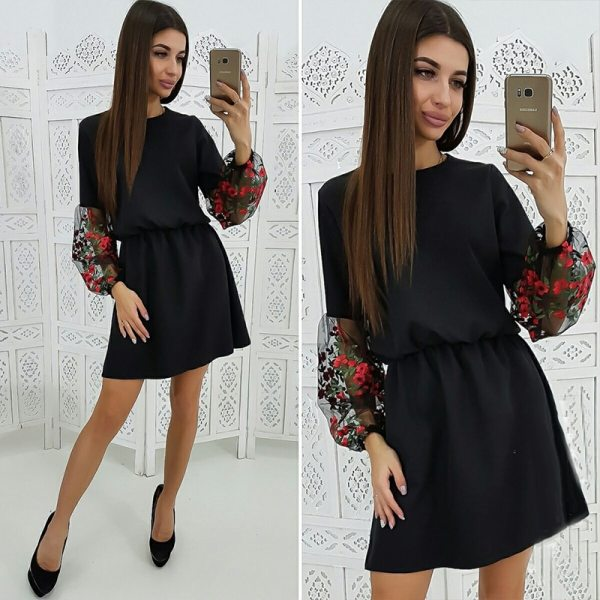 Mesh Embroidery Dress Women's Patchwork Casual A Line Dress Vintage Long Sleeve O-Neck Party Mini Dresses