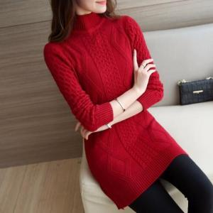 Autumn Winter Turtleneck Casual Long Pullover Knitted Women Sweater