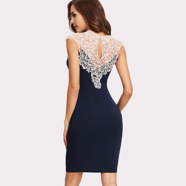 Navy Floral Lace Yoke Form Fitting Contrast Lace Color Block Sleeveless Sheath Dress