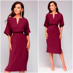 Women Casual Elegant Office Dresses V-Neck Knee-Length Burgundy Dress