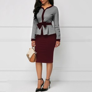 Elegant Office Dresses V-Neck Knee-Length Burgundy Dress