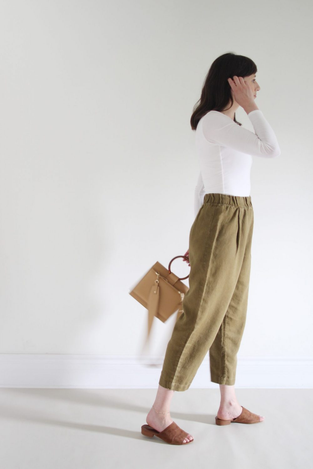 Style Bee - August Oufits Look 1 - White Bodysuit + Olive Andy Pant + Suede Slides + Structured Tan Bag