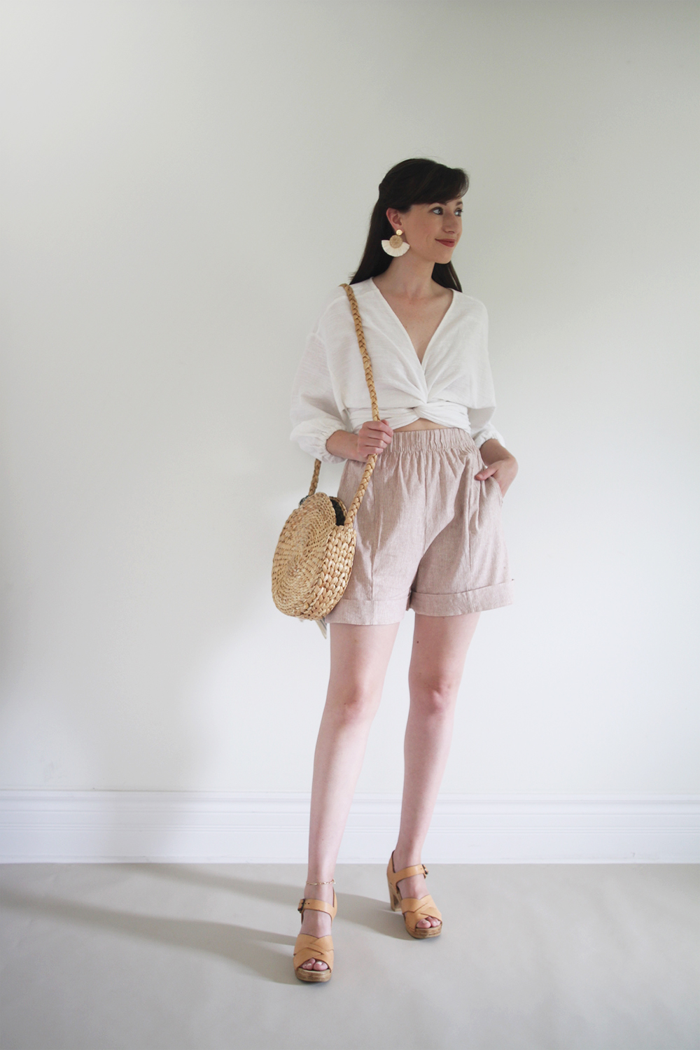 Style Bee - Summer Stripes - For Fun - Wrap Top + Striped Shorts + Clogs + Woven Bag