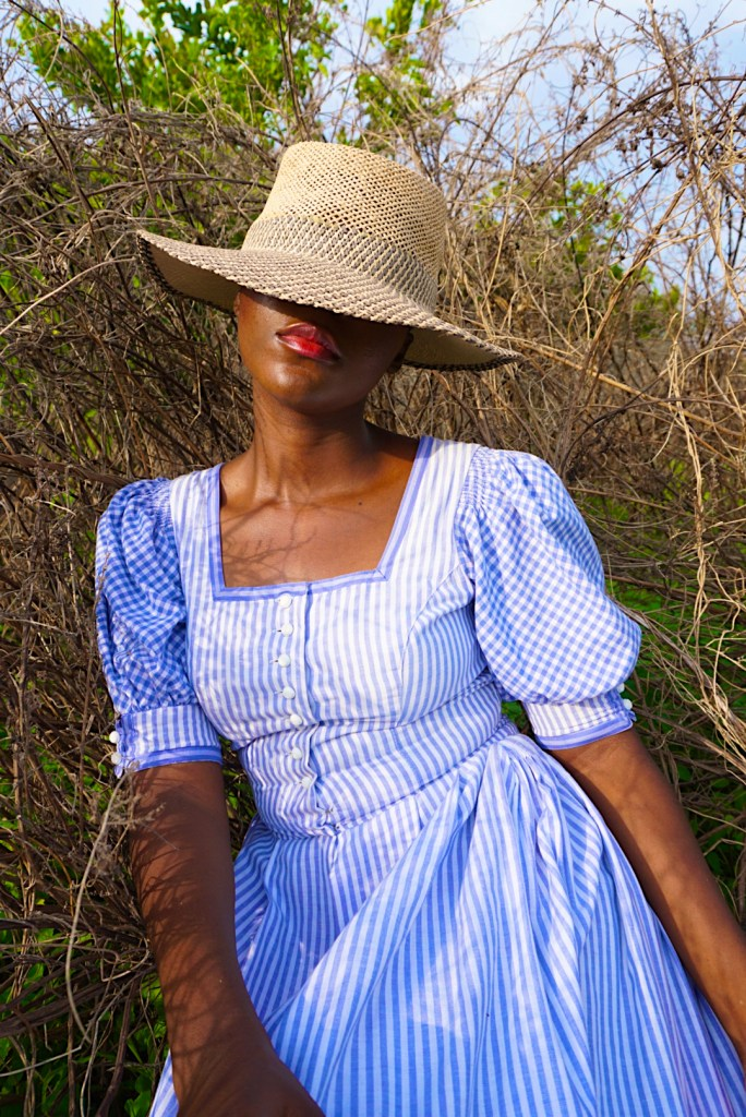 Milkmaid dress and rattan hat