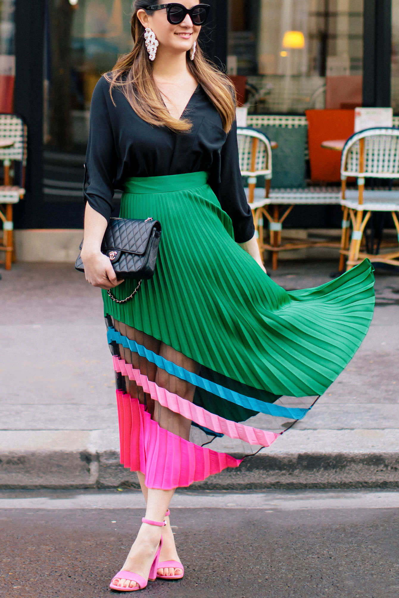 Milly Emerald Pleated Maxi Skirt At A Paris Bistro Style
