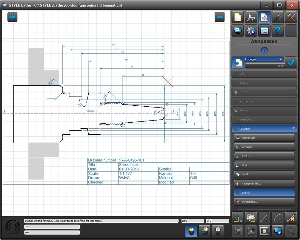 Nozzle simulation dimensioning