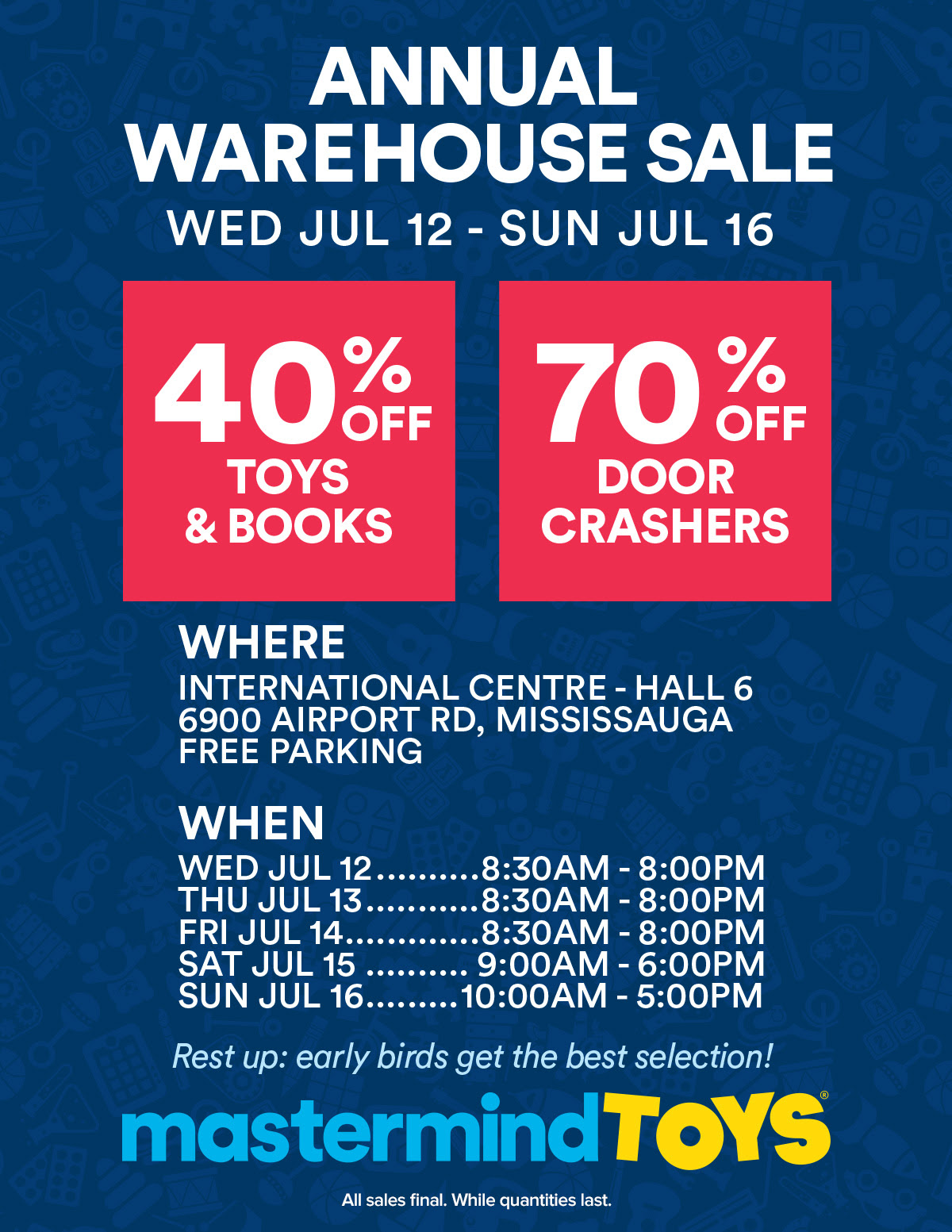 mastermind toys warehouse sale