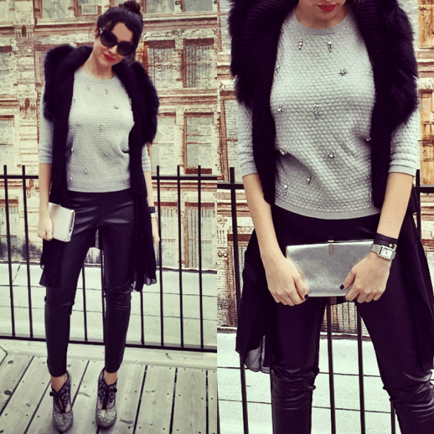 We styled our Metaphor sweater and faux leather leggings with a wrap dress, faux fur vest and Christian Louboutin booties.