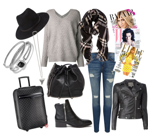 Travel Outfit Booties Jeans Accessories