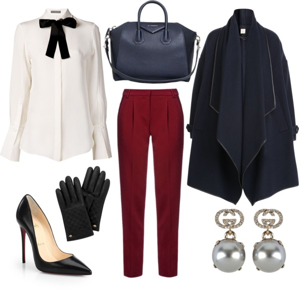 Winter Outfit Navy Burgundy