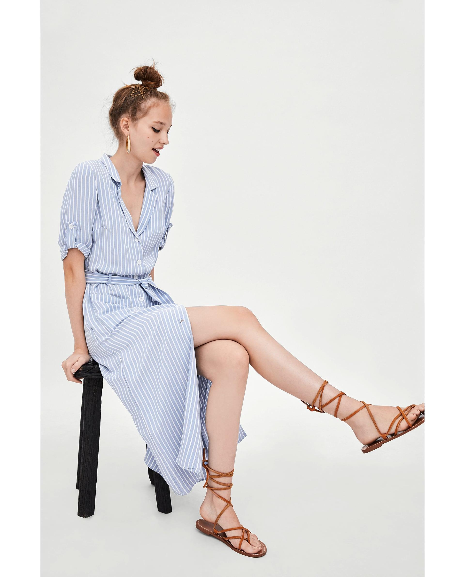 blue and white striped shirt dress Zara