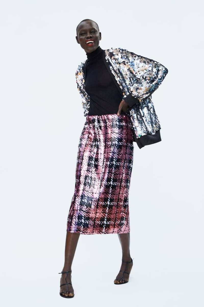 top 5 sequin skirts - Zara