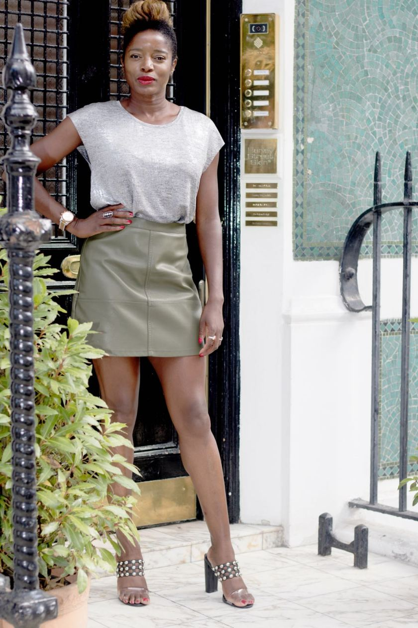 Style Icon Nat wearing Nadia Heels in Black - Harley Street Skincare Clinic