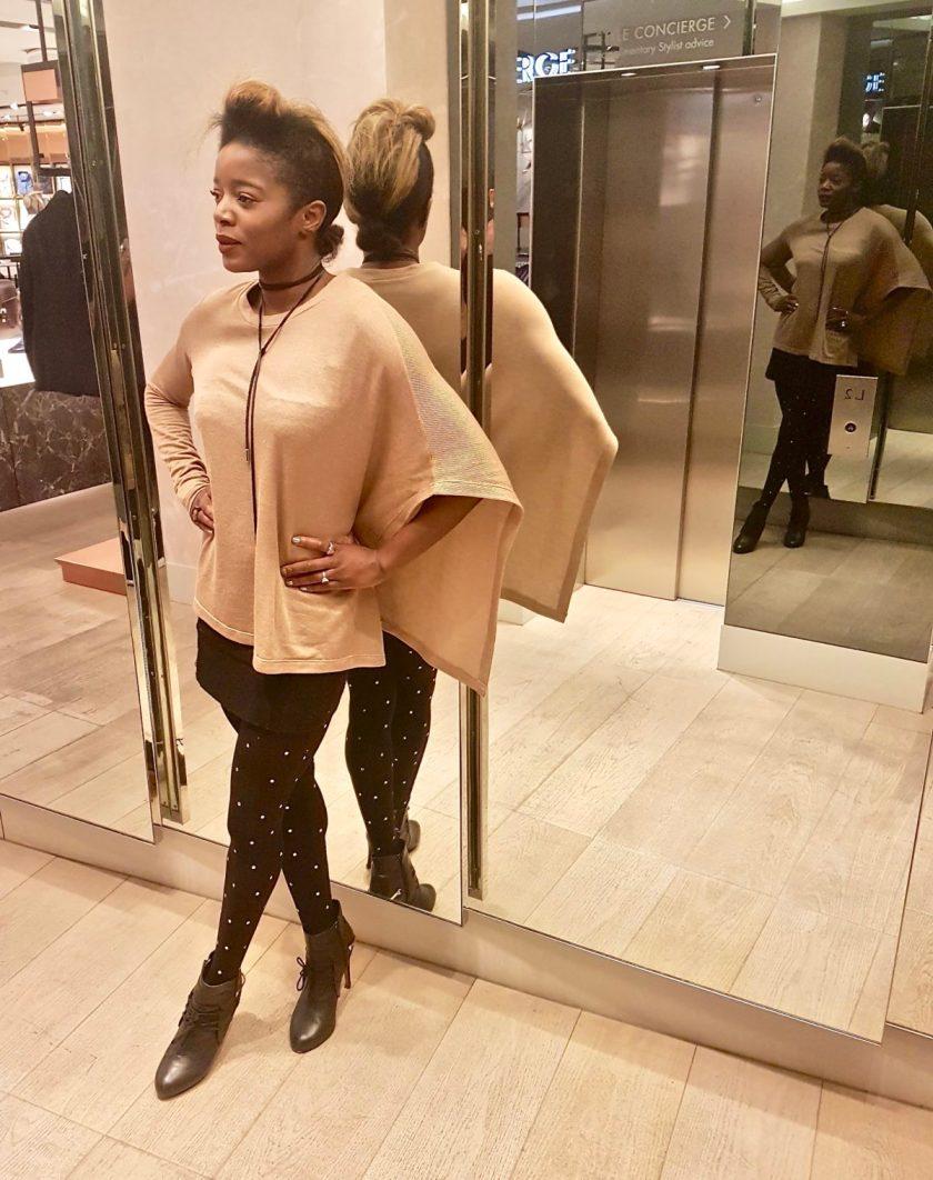 Muste Studios - Jersey Cape Blouse & Wool Blend Skirt