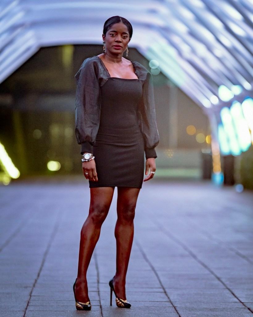 back to black mesh sleeve mini dress