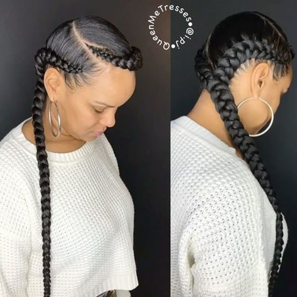 Two braids feed in braid hairstyles. - 15040418 feed in braids 1 2 - Ladies: Choose From These Gorgeous Feed in Braid Hairstyles for your New Look