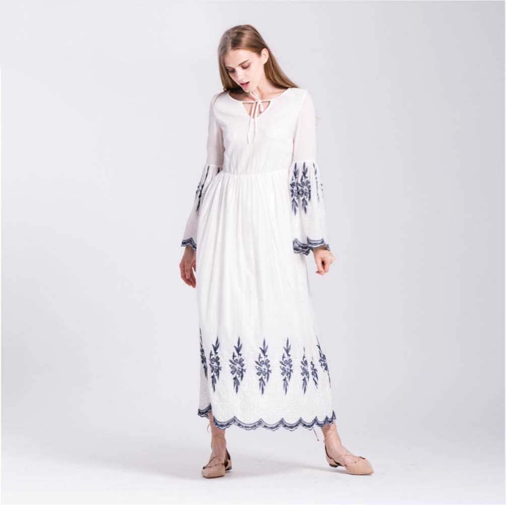 White and blue embroidered long sleeve maxi dress