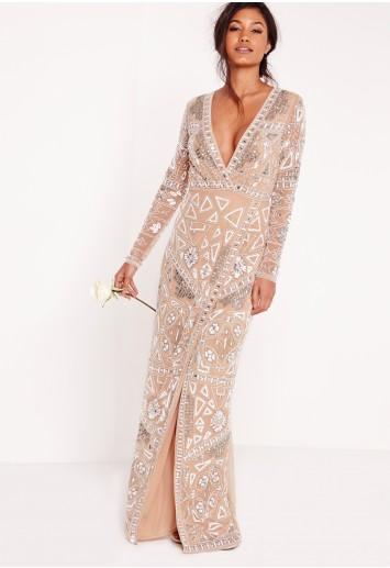 Bridal Sequin Wrap Maxi Dress