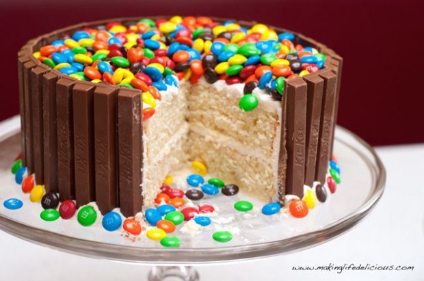 Yellow Cake With Whipped Chocolate Frosting