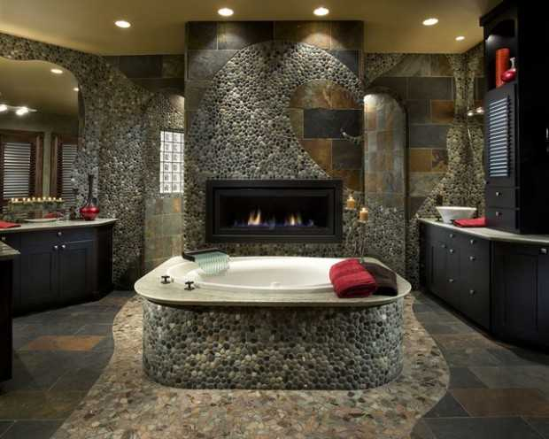 how to use river rock tile in bathroom design: 19 great ideas