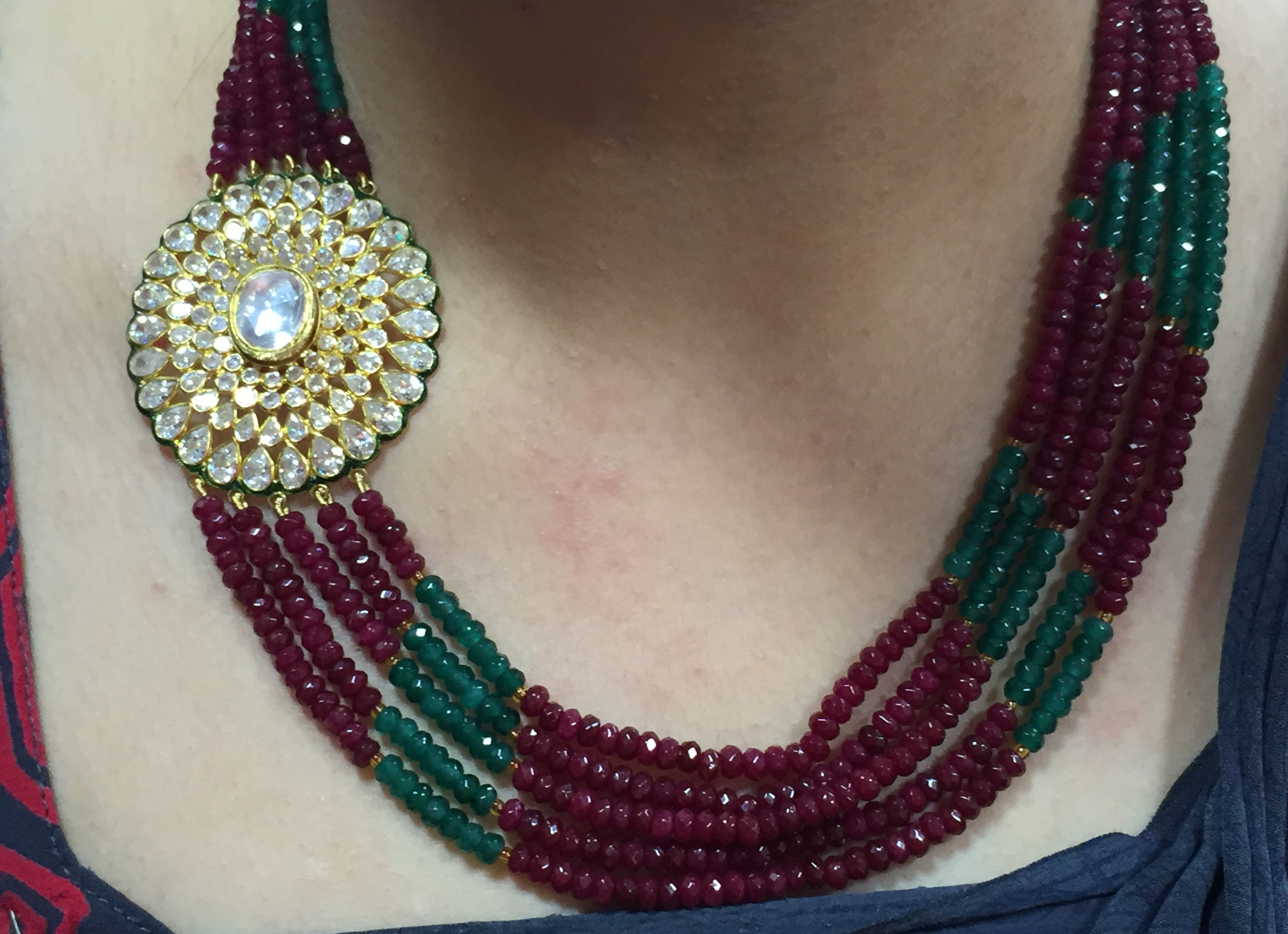 And I got Neetu ji from the store team to model the Ruby-Emerald with AD Necklace. PC- Style Prer
