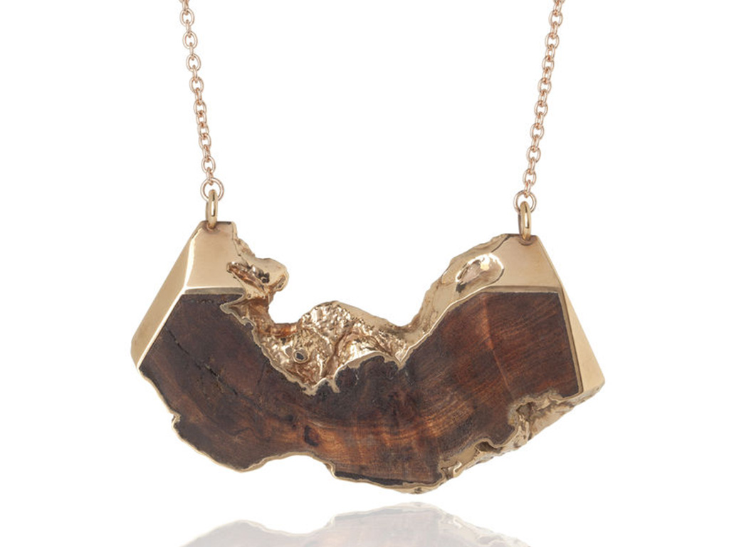 Diane Turner baroque wood pendant dipped in 22kt rose gold.