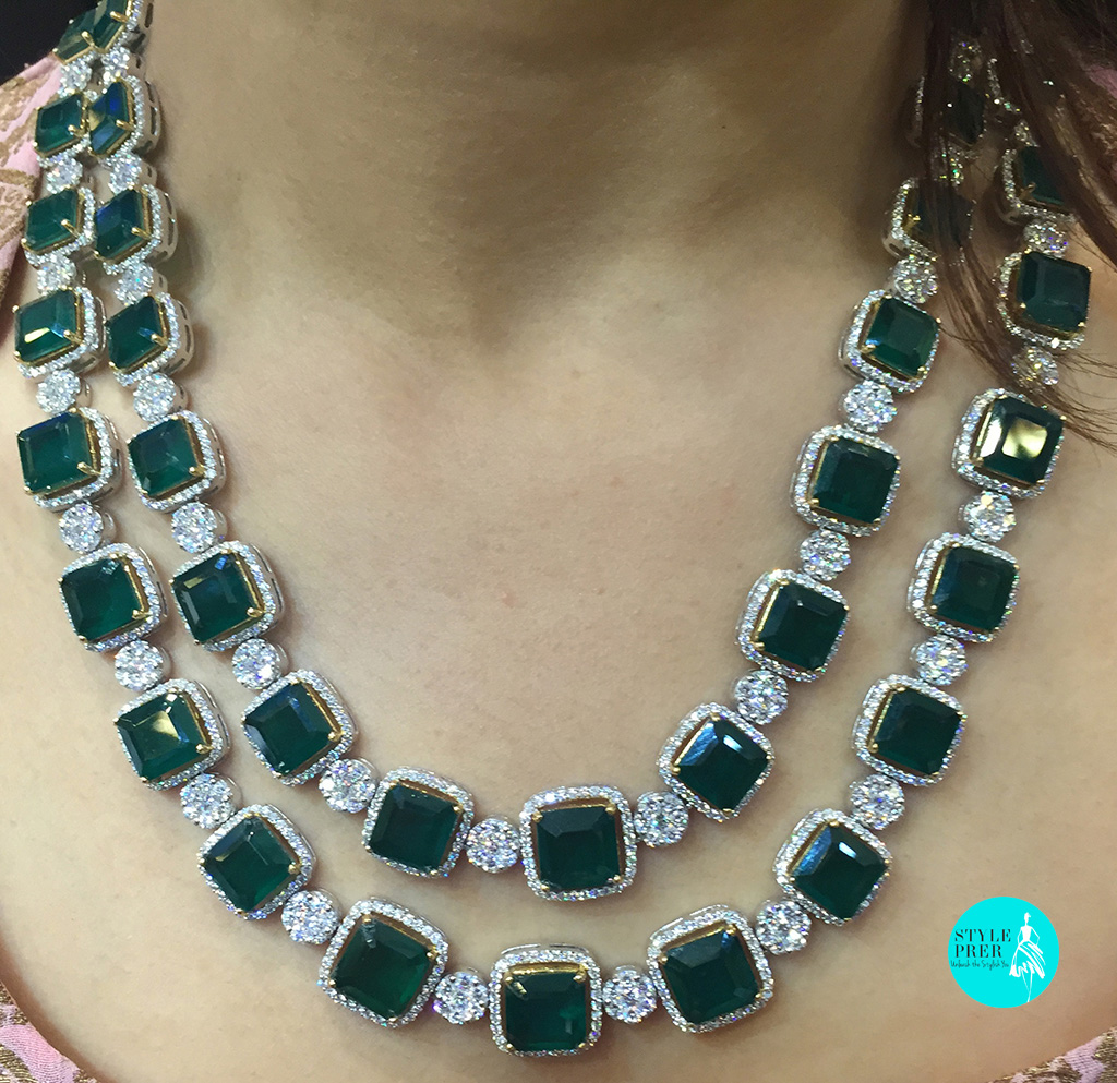 Emerald & Diamond Necklace Set- Gehna Jewellery