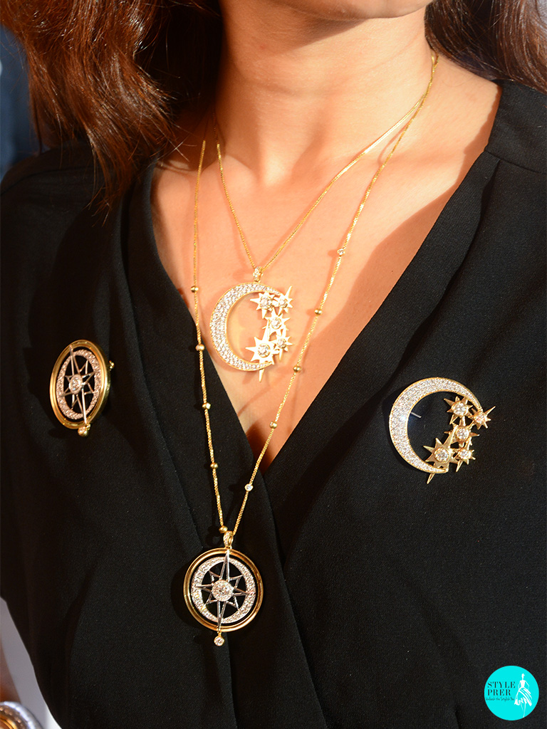 Look A- Layering The Medallion Pendants Teamed With Brooches  With Forevermark Diamonds And Designed By Bibhu Mohapatra