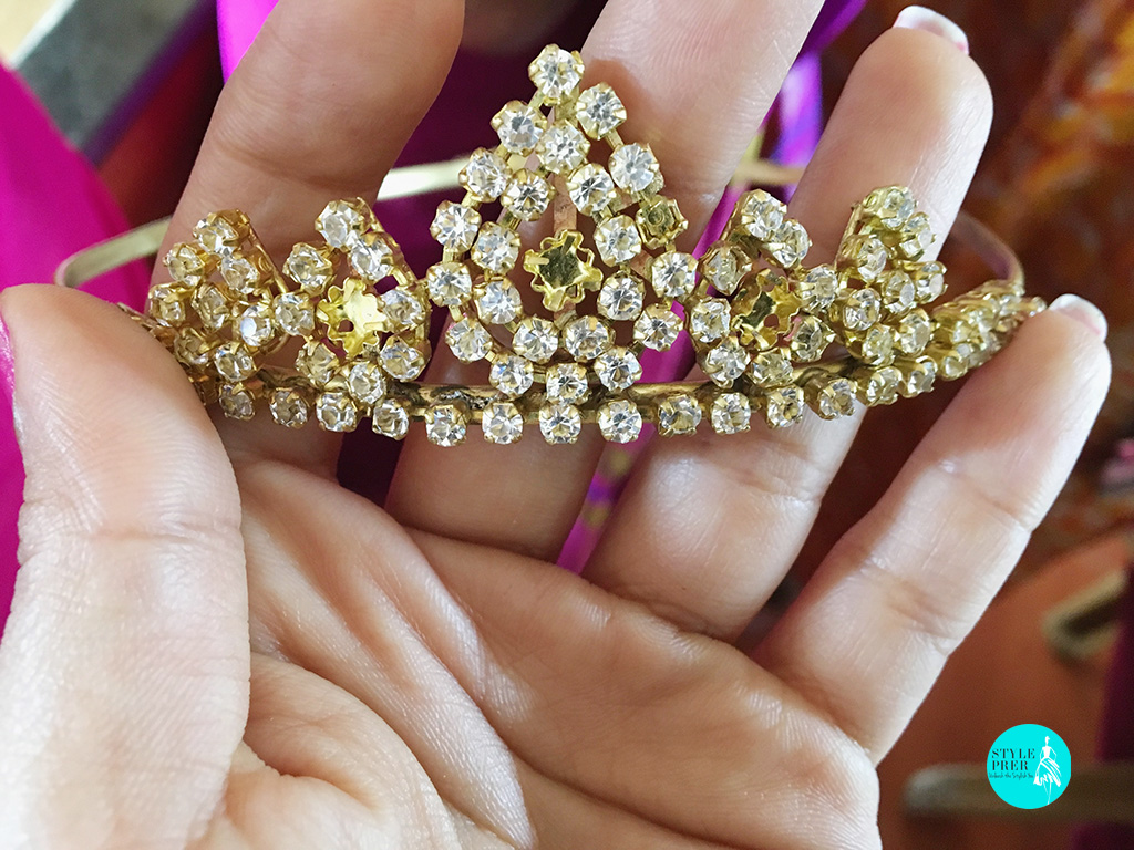 Mukut - Head Ornament Studded With Stones And Gems Made For Deity By Women Of Project Vanika