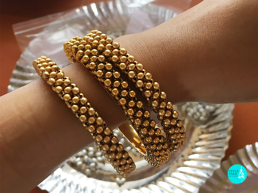 Golden Handmade Beaded Bangle Kadas