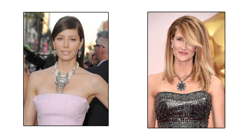 Jessica Beil and Laura Dern show off some exotic neck pieces in their strapless gowns