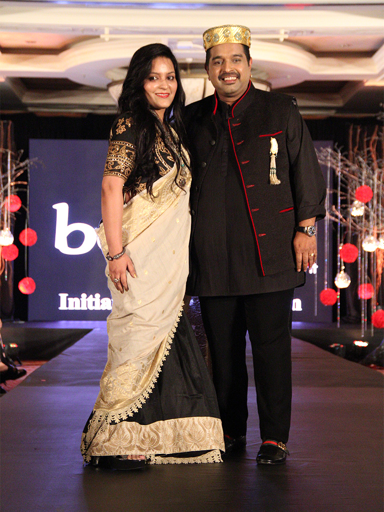 Mazameer - Handcrafted Brooch adorned by the singer and showstopper Shankar Mahadevan with the jewelry designer Sunaina Jain at the Beti Movement Jewelry and Fashion show.