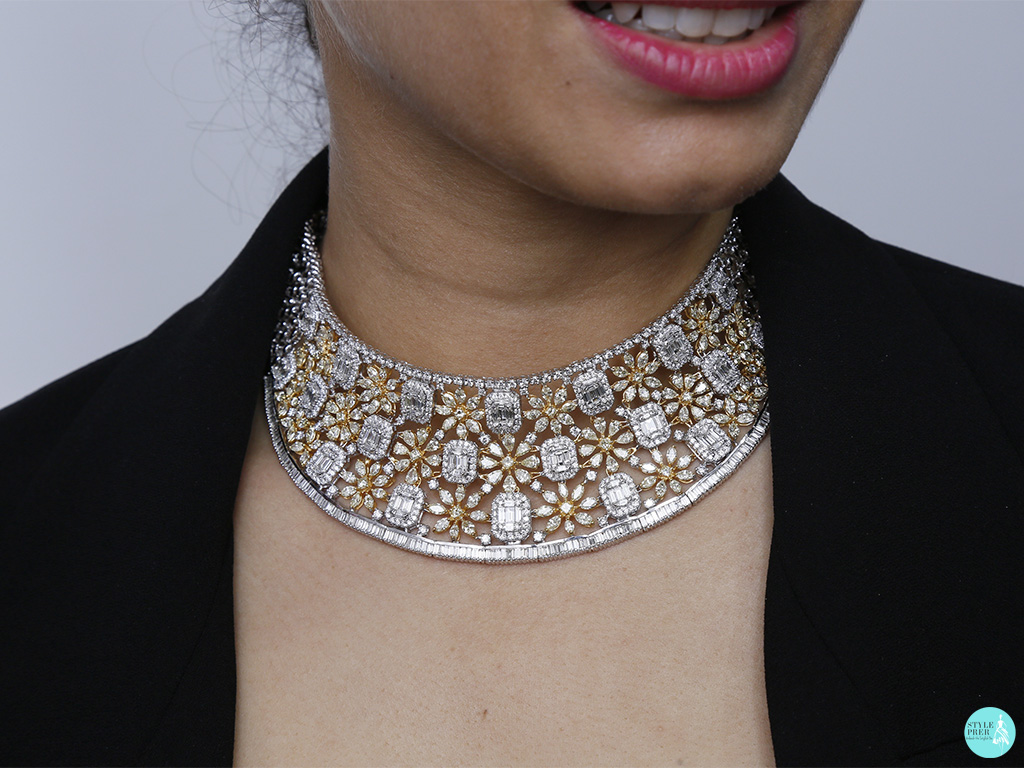 Bridal Diamond Necklace With Illusion Set Diamonds From Zundaa
