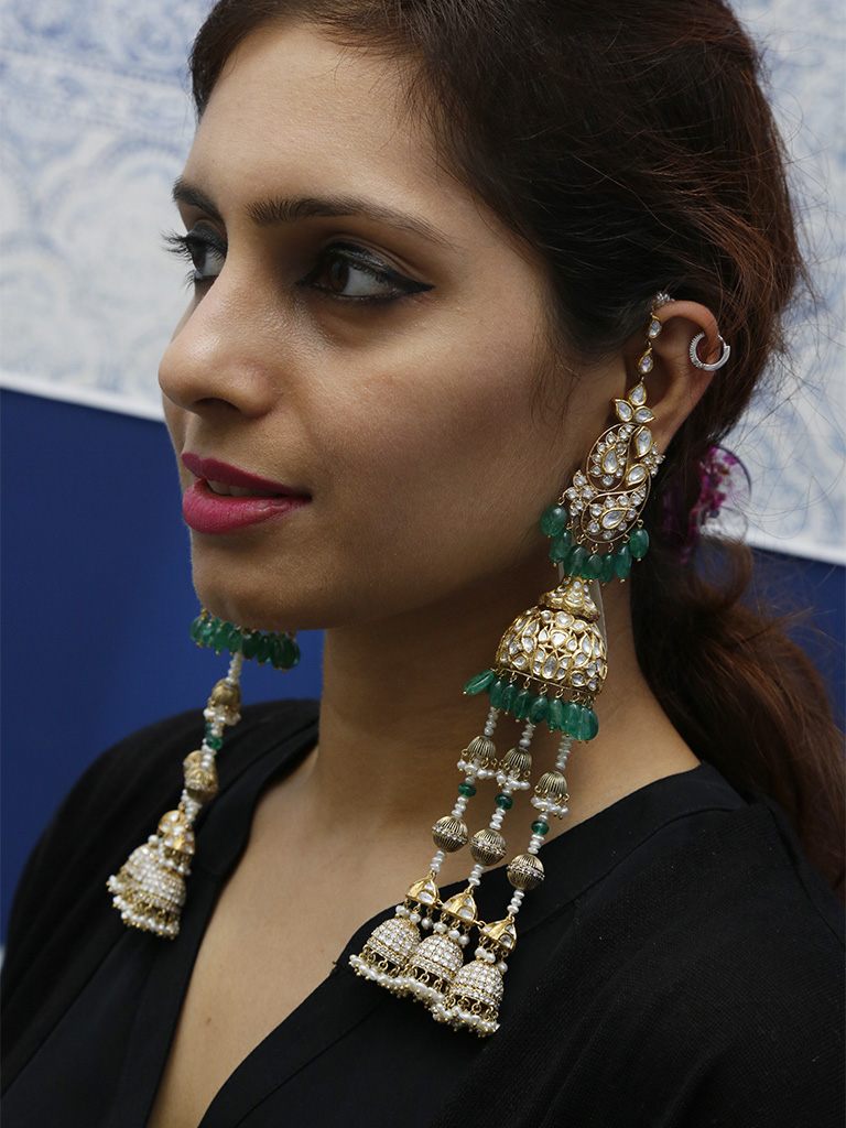 Kashmiri Jhumki Jhumka - Shoulder Dusters With Polki And Emeralds By Birdhichand Ghanshyamdas Jewellers