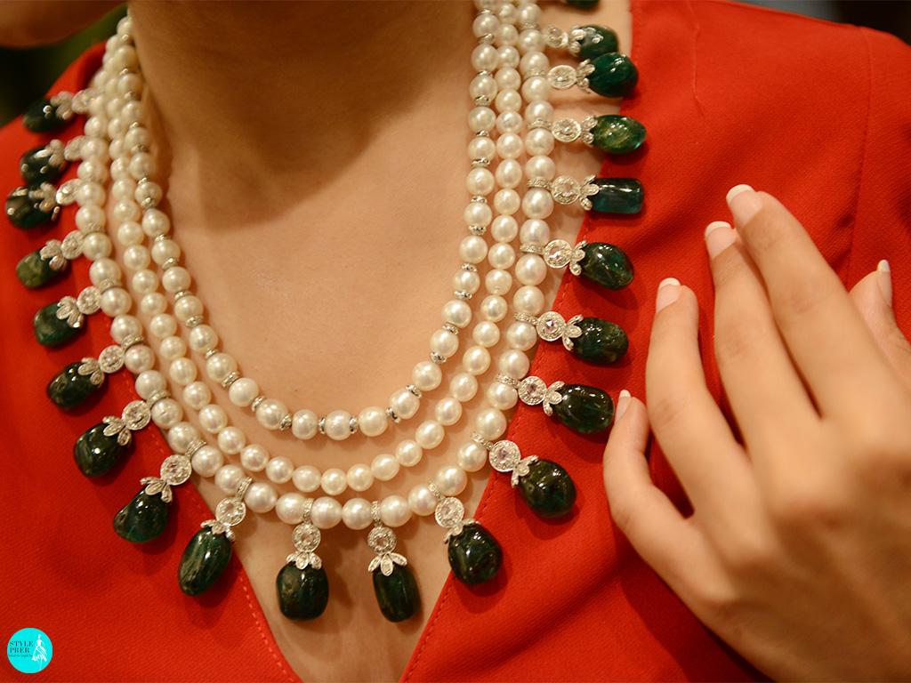 Antique Jewellery Emerald, Pearl, Rosecut Diamond Gemstone Necklace By Bharanys and Lubhyati