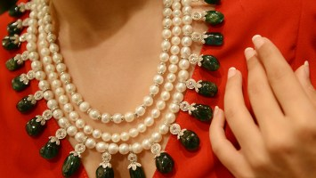 Emerald, Pearl And Rose Cut Diamond Bridal Layered Gemstone Necklace By Bharanys and Lubhyati