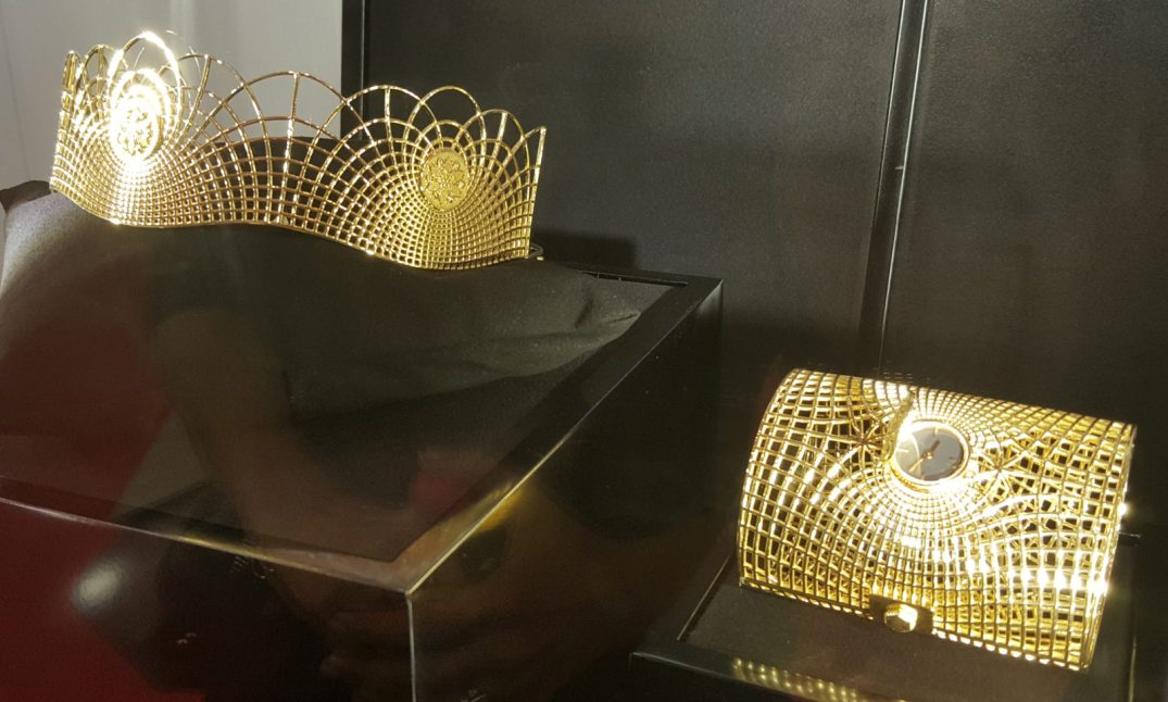 Gold Tiara And Gold Cuff Centered With A Watch Dial, Designed By Krishma S Jain Who Won The Third Place At XIFU International Gold Wedding Jewellery Design Competition Held In China