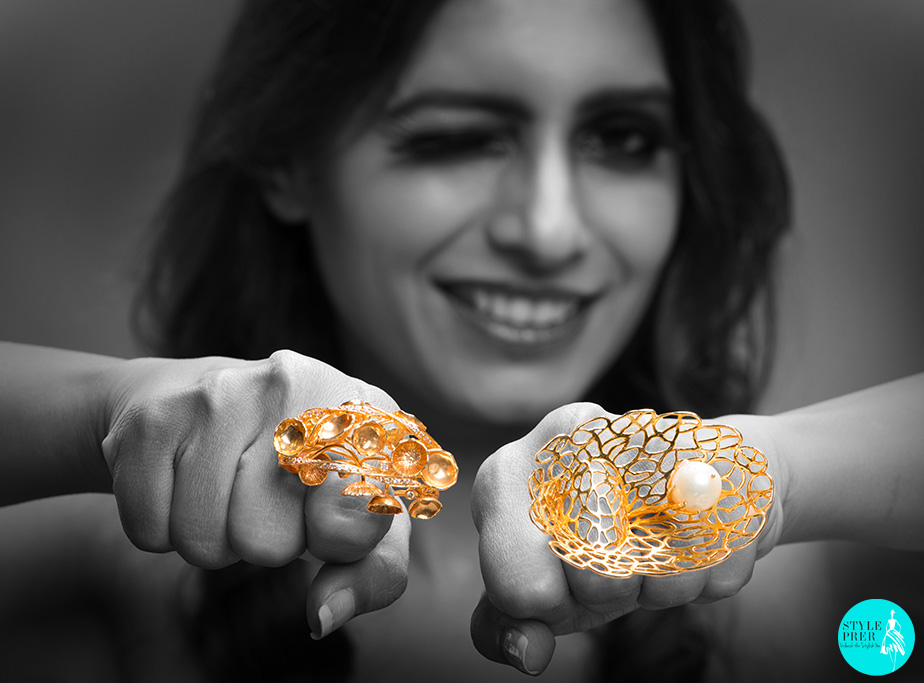 (L-R) A Culmination Of Dramatic Flair And Lustrous Feminity, Is A Ring Inspired From An Inverted Mushroom And Jaali Work From The Taj Mahal Are Gold Rings By Pallavi Foley