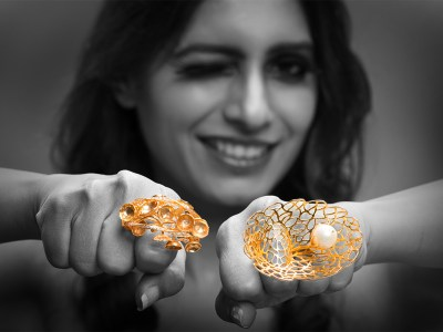 (L-R) Inspired From An Inverted Mushroom And Jaali Work From The Taj Mahal Are Gold Rings By Pallavi Foley