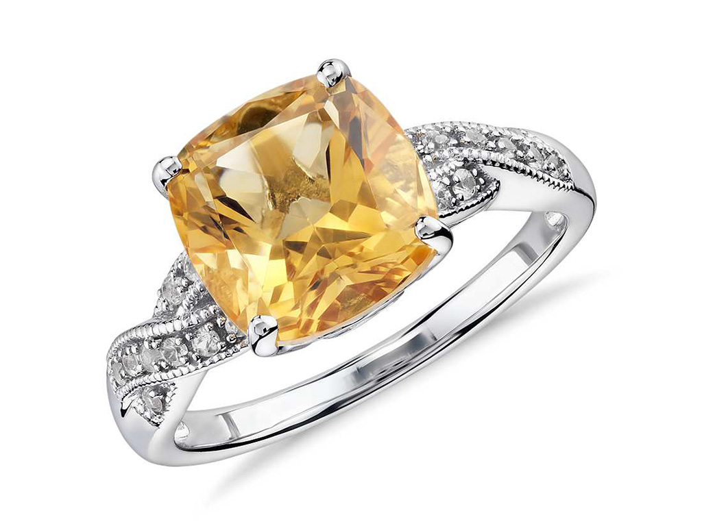 Citrine Quartz And White Sapphire Ring In Sterling Silver By Blue Nile