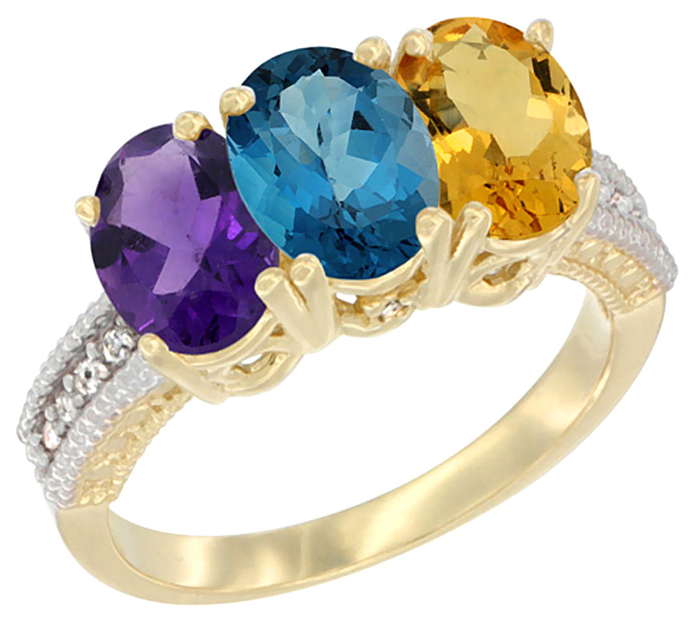 Amethyst, London Blue Topaz, Citrine Quartz Ring
