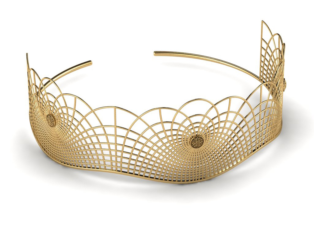 Gold Tiara Inspired From The Seven Chakras And Flow Of Energy