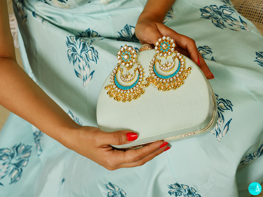 Adorning A Traditional Kundan Chaandbaali By Harsha  Patel From Velvetcase. Cocktail Gown - Anj Kreations