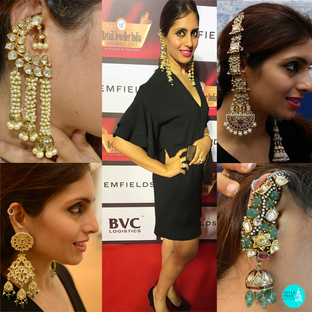 Little Black Dress Look (L-R) Polki Jadav Earrings From Jewels Of Jaipur, Birdhichand Ghanshyamdas Jewellers, Khanna Jewellers, Golechas