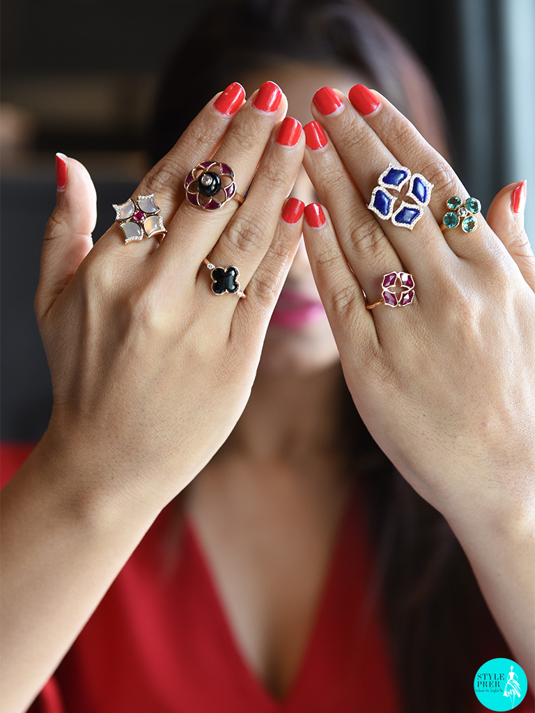Wearing Multiple Daily Wear Rings From Fleur De Lotus, Lattice, Flora Collections At Gyan Jewels