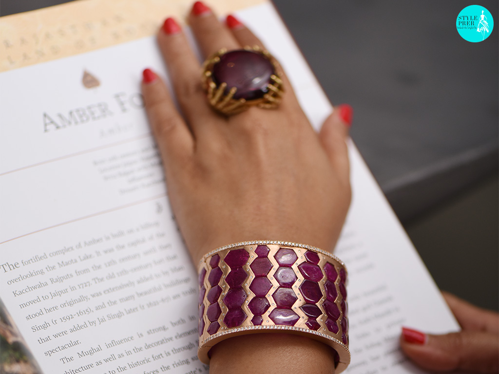 Geometric Ruby And Gold Cuff With A Bold Ruby Cocktail Ring By Gyan Jewels