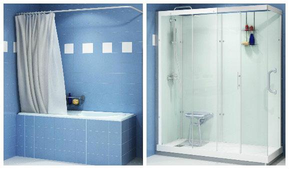 remplacer une baignoire par une douche avant apres