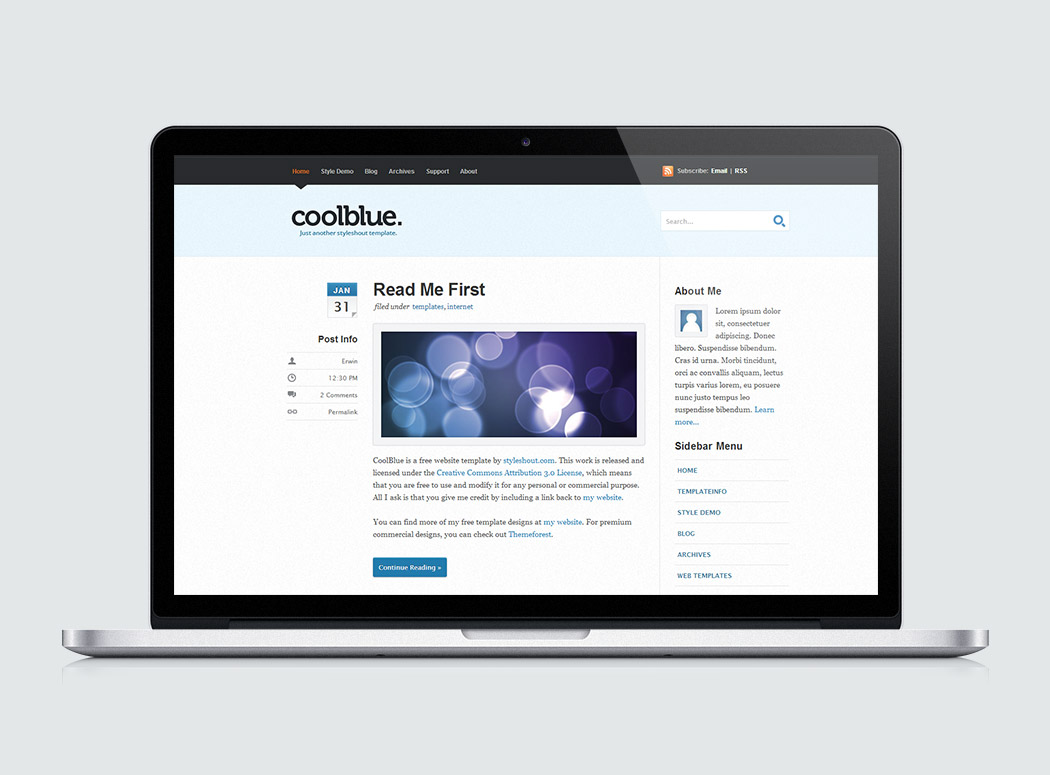 Free Website Template - Coolblue