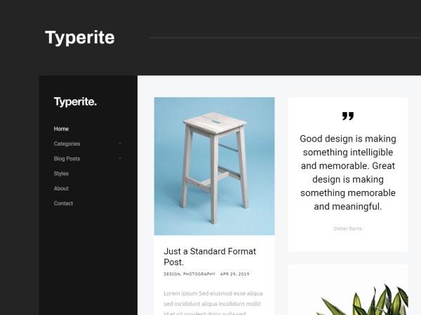 Typerite - Clean Simple Masonry Free Blog Template